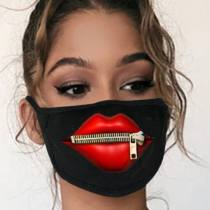 Black Fashion Casual Lips Printed Dust Face Mask