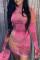 Pink Work Daily Print O Neck Pencil Skirt Dresses