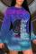 Blue Purple Sexy Casual Gradual Change Print Make Old Tie-dye O Neck Pencil Skirt Dresses