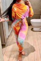 Yellow British Style Print Tie-dye O Neck Long Sleeve Two Pieces