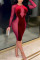 Wine Red Work Daily Solid Hollowed Out Split Joint See-through Pencil Skirt Dresses