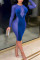 Color Blue Work Daily Solid Hollowed Out Split Joint See-through Pencil Skirt Dresses