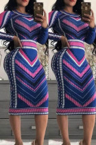 Multicolor Fashion Casual Print Long Sleeve Dress