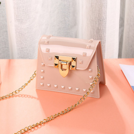 Apricot Fashion Casual Solid Metal Accessories Decoration Crossbody Bag
