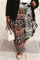 Multicolor Fashion Casual Digital Print Trousers