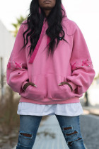 Light Pink Casual Draw String Cotton Hoodies