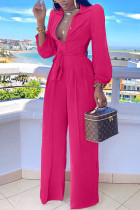 rose red Casual Button Solid Draped Knitting Long Sleeve V Neck Jumpsuits