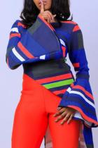 Multicolor Casual Geometric Split Joint Slit O Neck Tops