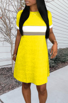 Yellow Patchwork Slim Fit A-line Dress