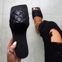 Black Fashion Casual Split Joint Solid Color Flat Slippers