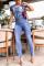Baby Blue Street Solid O Neck Regular Jumpsuits