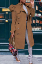 Coffee Casual Solid With Belt Turndown Collar Outerwear