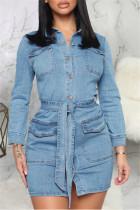 Blue Fashion Casual Solid Basic Turndown Collar Denim Dress