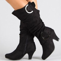 Black Fashion Casual Solid Color Pointed Keep Warm High Boots