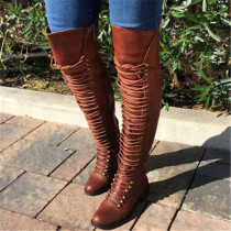 Brown Fashion Solid Color Pointed Keep Warm High Boots