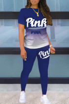 Blue Casual Gradual Change Letter Print Split Joint O Neck Short Sleeve Two Pieces