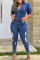 Dark Blue Street Solid Turndown Collar Regular Jumpsuits