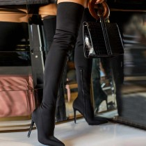 Black Fashion Solid Color Pointed Keep Warm Stiletto High Boots
