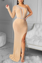 Apricot Sexy Geometric Split Joint See-through Oblique Collar Dresses