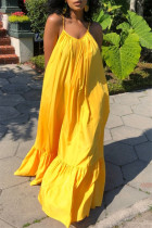Yellow Sexy Casual Solid Backless Spaghetti Strap Loose Sling Dress