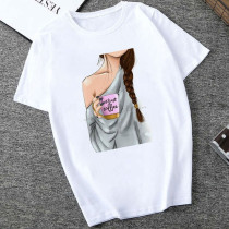 Grey Fashion Casual Daily O Neck Short Sleeve Regular Sleeve Regular Letter Character Tops