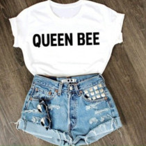 Letter Print Fashion Casual Daily O Neck Short Sleeve Regular Sleeve Regular Letter Character Tops