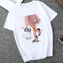 Pink Fashion Casual Daily O Neck Short Sleeve Regular Sleeve Regular Letter Character Tops
