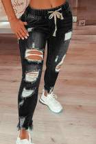 Black Fashion Casual Solid Ripped Mid Waist Regular Jeans