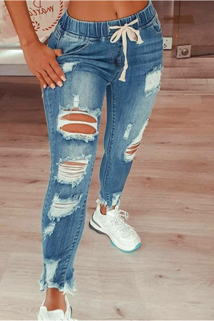 Baby Blue Fashion Casual Solid Ripped Mid Waist Regular Jeans