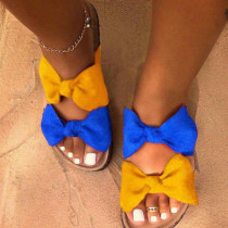Blue Yellow Casual With Bow Round Comfortable Shoes