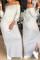 Grey Casual Dew Shoulder Slit Hem Ankle Length Dress