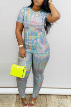 Grey Casual Solid Two Piece Suits Patchwork Sequin pencil Short Sleeve Two-piece Pants Set