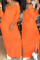 Croci Casual Dew Shoulder Slit Hem Ankle Length Dress