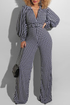 Black And White Fashion Casual Print Basic Turndown Collar Regular Jumpsuits