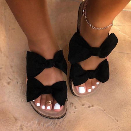 Black Casual With Bow Round Comfortable Shoes