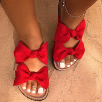 Red Casual With Bow Round Comfortable Shoes