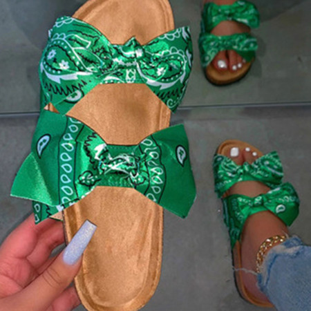 Green Casual With Bow Round Comfortable Shoes