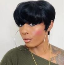 Black Fashion Hign-temperature Resistance Solid Short Wigs