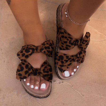Leopard Print Casual With Bow Round Comfortable Shoes