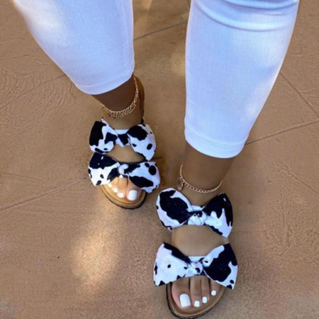 Black And White Casual With Bow Round Comfortable Shoes