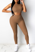 Khaki Casual Sportswear Solid Vests Pants O Neck Sleeveless Two Pieces