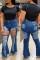 Deep Blue Fashion Casual Solid Ripped High Waist Boot Cut Jeans