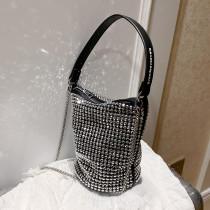Silver Fashion Casual Rhinestone Chain Bucket Bag