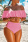 Pink Sexy Hollowed-out Blends Bikinis