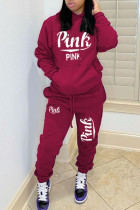 Wine Red Casual Letter Print Hooded Collar Long Sleeve Two Pieces