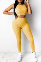Yellow Casual Sportswear Solid Vests Pants O Neck Sleeveless Two Pieces