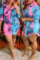 Pink Fashion Casual Print Tie-dye Turndown Collar Shirt Dress