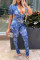 Blue Fashion Casual Print Hollowed Out Split Joint Tie-dye O Neck Regular Jumpsuits