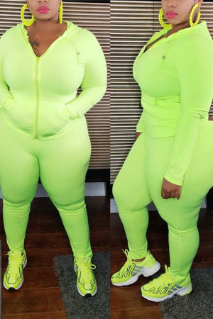 Fluorescent green Polyester Casual V Neck Solid Plus Size