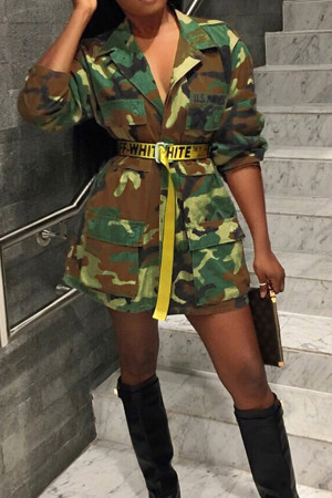 Camo Casual Turndown Collar Single Breasted Cotton Blends Coat(Without Belt)